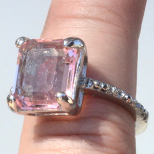 Jewelry - Pink Sapphire Ring size 7 Silver Cocktail Bling